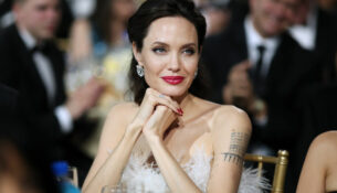 SANTA MONICA, CA - JANUARY 11:  Actor/director Angelina Jolie attends The 23rd Annual Critics' Choice Awards at Barker Hangar on January 11, 2018 in Santa Monica, California.  (Photo by Christopher Polk/Getty Images for The Critics' Choice Awards  )